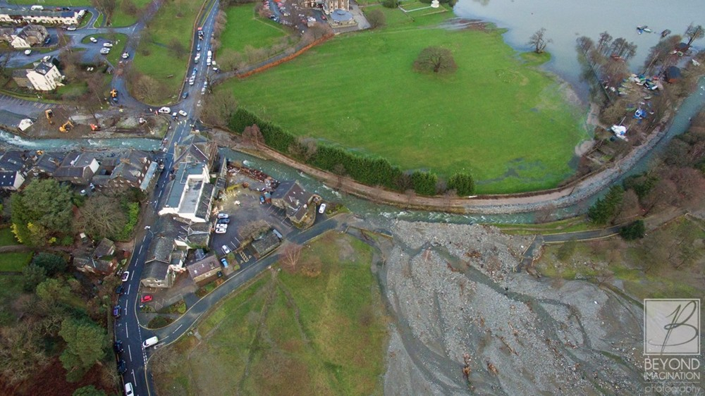 Aerial Photo of Glenridding after Storm Desmond from Beyond Imagination Photography